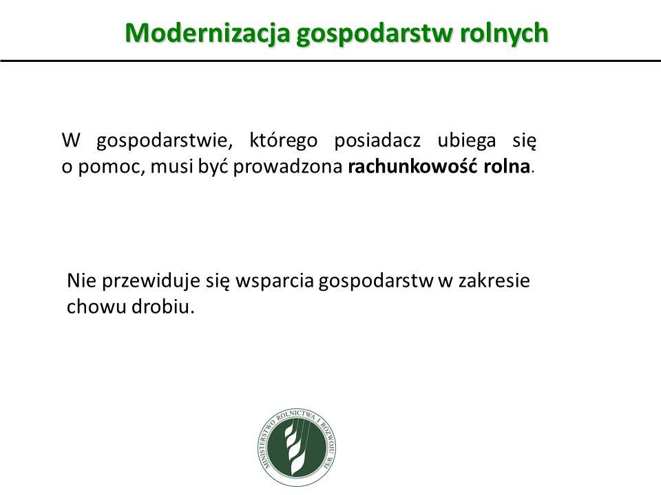 Modernizacja gospodarstw rolnych W gospodarstwie, którego posiadacz ubiega się o pomoc, musi być prowadzona rachunkowość rolna.