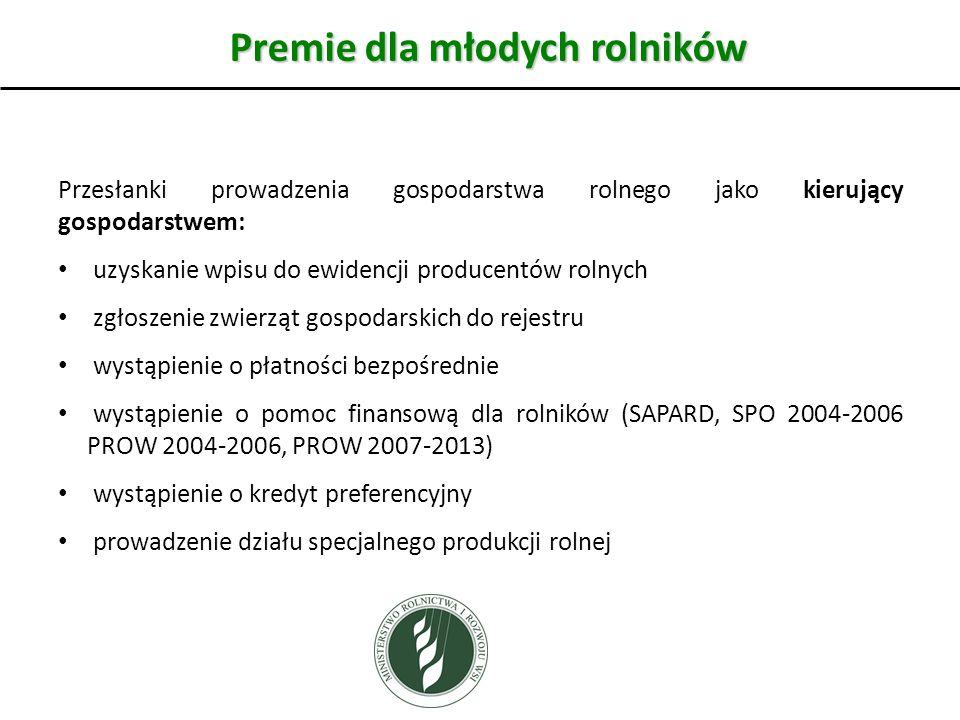Premie dla młodych rolników Przesłanki prowadzenia gospodarstwa rolnego jako kierujący gospodarstwem: uzyskanie wpisu do ewidencji producentów rolnych zgłoszenie zwierząt gospodarskich do rejestru wystąpienie o płatności bezpośrednie wystąpienie o pomoc finansową dla rolników (SAPARD, SPO 2004-2006 PROW 2004-2006, PROW 2007-2013) wystąpienie o kredyt preferencyjny prowadzenie działu specjalnego produkcji rolnej