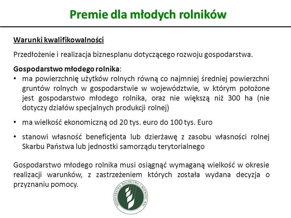 Premie dla młodych rolników Warunki kwalifikowalności Przedłożenie i realizacja biznesplanu dotyczącego rozwoju gospodarstwa.
