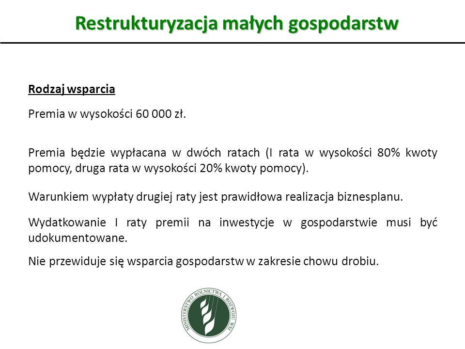 Restrukturyzacja małych gospodarstw Rodzaj wsparcia Premia w wysokości 60 000 zł.