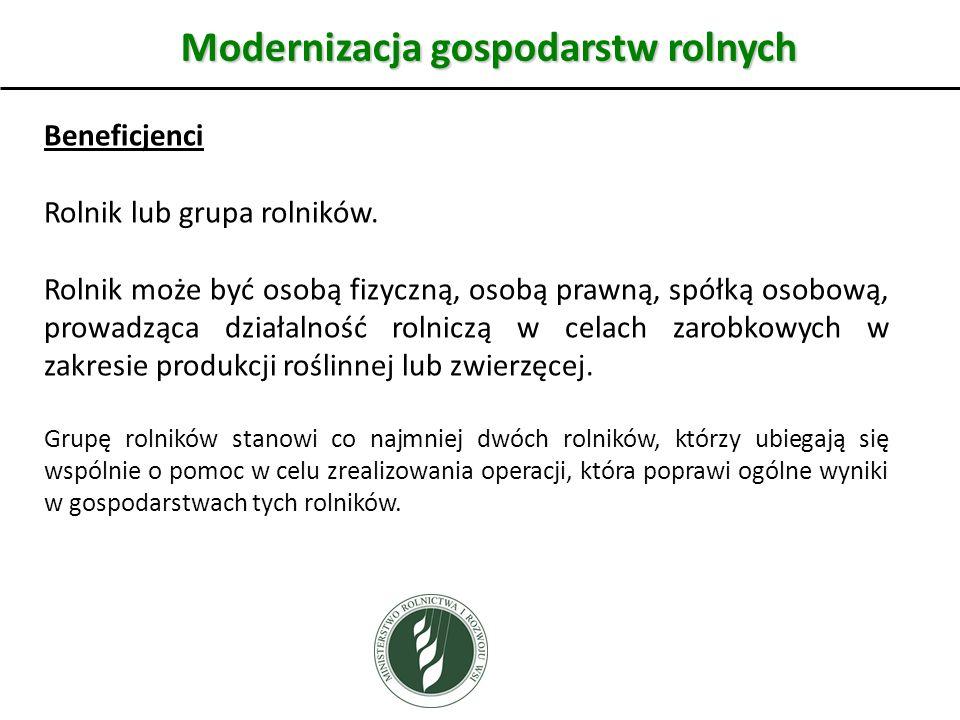 Modernizacja gospodarstw rolnych Beneficjenci Rolnik lub grupa rolników.