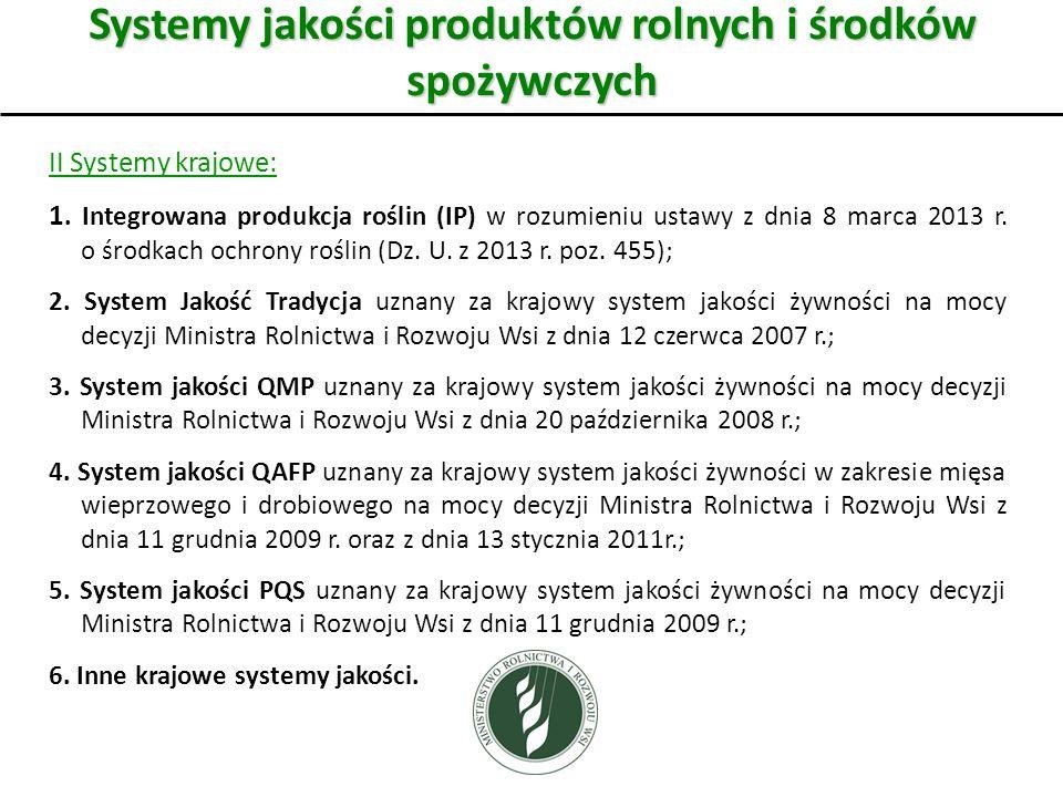 Systemy jakości produktów rolnych i środków spożywczych II Systemy krajowe: 1.