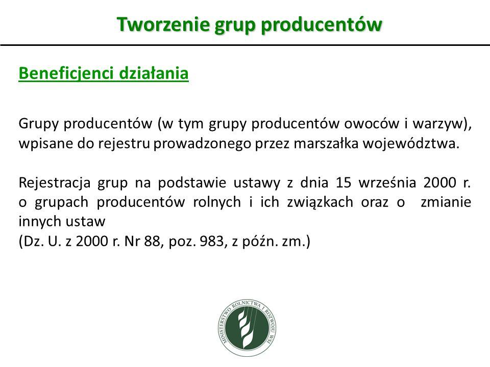 Tworzenie grup producentów Beneficjenci działania Grupy producentów (w tym grupy producentów owoców i warzyw), wpisane do rejestru prowadzonego przez marszałka województwa.