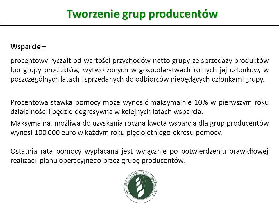Tworzenie grup producentów Wsparcie – procentowy ryczałt od wartości przychodów netto grupy ze sprzedaży produktów lub grupy produktów, wytworzonych w gospodarstwach rolnych jej członków, w poszczególnych latach i sprzedanych do odbiorców niebędących członkami grupy.