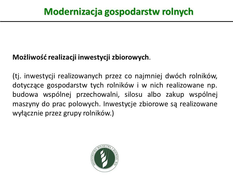 Modernizacja gospodarstw rolnych Możliwość realizacji inwestycji zbiorowych.