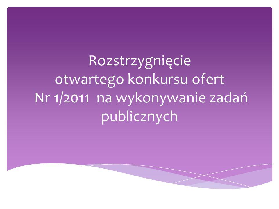 Rozstrzygnięcie otwartego konkursu ofert Nr 1/2011 na wykonywanie zadań publicznych