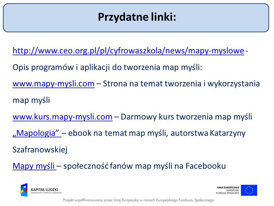 Przydatne linki: http://www.ceo.org.pl/pl/cyfrowaszkola/news/mapy-myslowehttp://www.ceo.org.pl/pl/cyfrowaszkola/news/mapy-myslowe - Opis programów i a