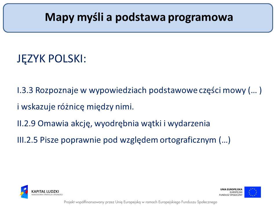 JĘZYK POLSKI: I.3.3 Rozpoznaje w wypowiedziach podstawowe części mowy (… ) i wskazuje różnicę między nimi. II.2.9 Omawia akcję, wyodrębnia wątki i wyd