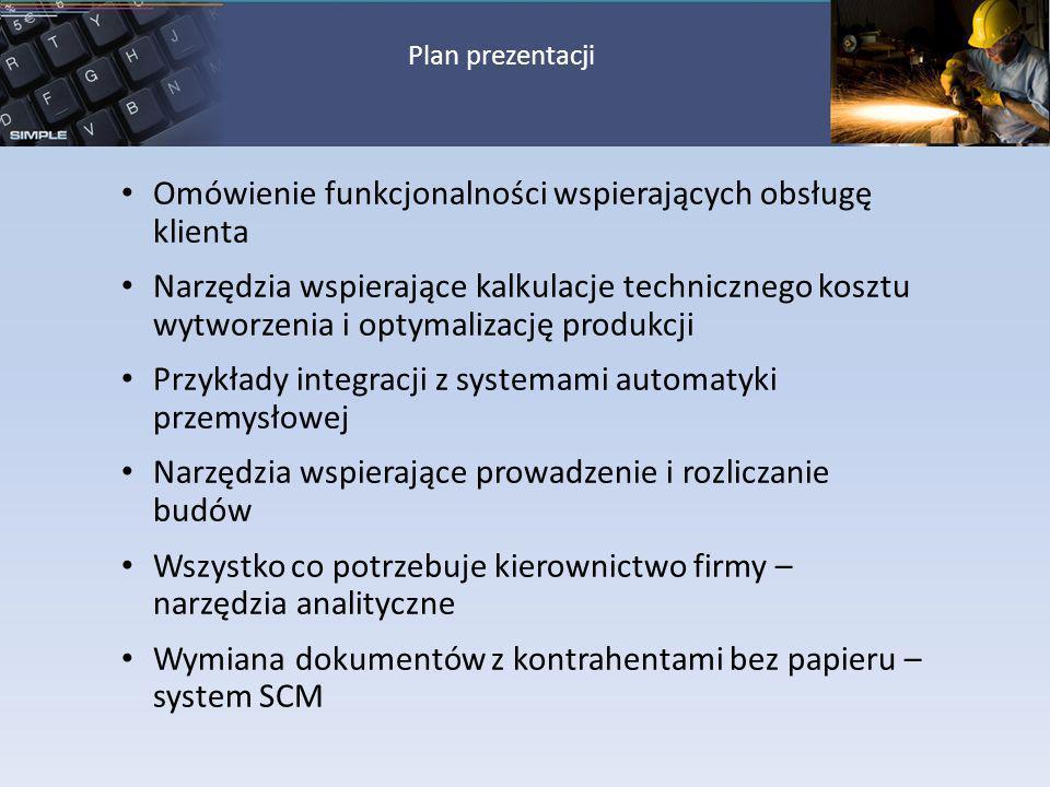 Omówienie funkcjonalności wspierających obsługę klienta Narzędzia wspierające kalkulacje technicznego kosztu wytworzenia i optymalizację produkcji Prz