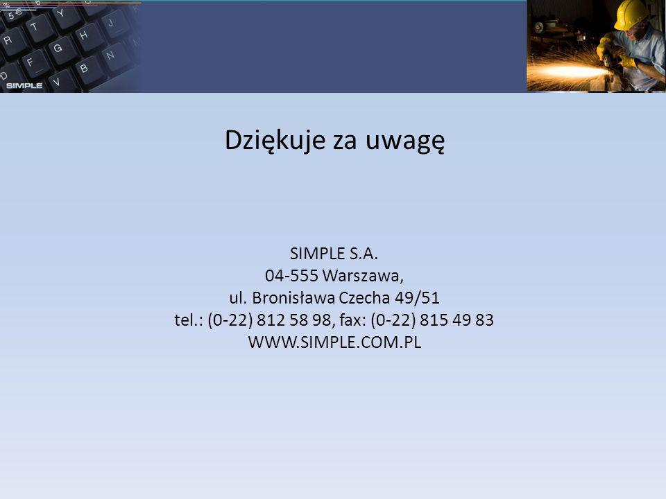 Dziękuje za uwagę SIMPLE S.A. 04-555 Warszawa, ul. Bronisława Czecha 49/51 tel.: (0-22) 812 58 98, fax: (0-22) 815 49 83 WWW.SIMPLE.COM.PL