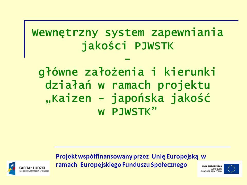 Wewnętrzny system zapewniania jakości PJWSTK - główne założenia i kierunki działań w ramach projektu Kaizen - japońska jakość w PJWSTK Projekt współfi