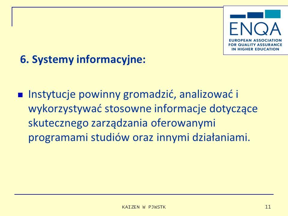 6. Systemy informacyjne: Instytucje powinny gromadzić, analizować i wykorzystywać stosowne informacje dotyczące skutecznego zarządzania oferowanymi pr