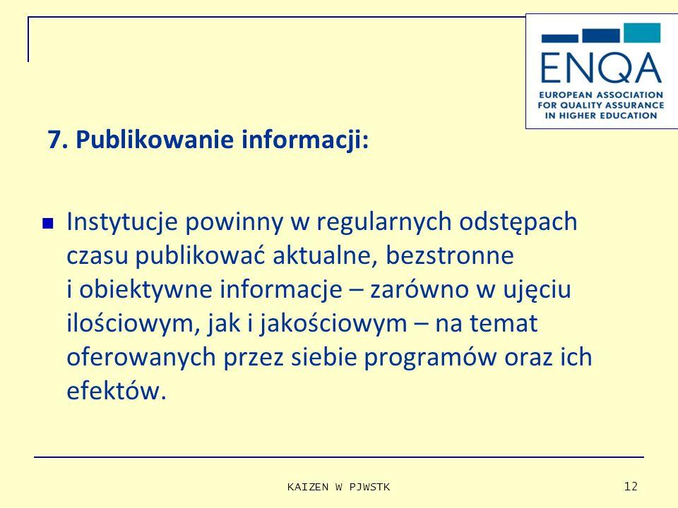 7. Publikowanie informacji: Instytucje powinny w regularnych odstępach czasu publikować aktualne, bezstronne i obiektywne informacje – zarówno w ujęci