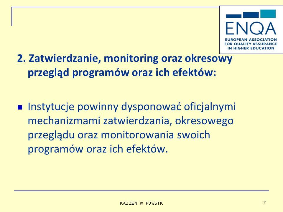 2. Zatwierdzanie, monitoring oraz okresowy przegląd programów oraz ich efektów: Instytucje powinny dysponować oficjalnymi mechanizmami zatwierdzania,