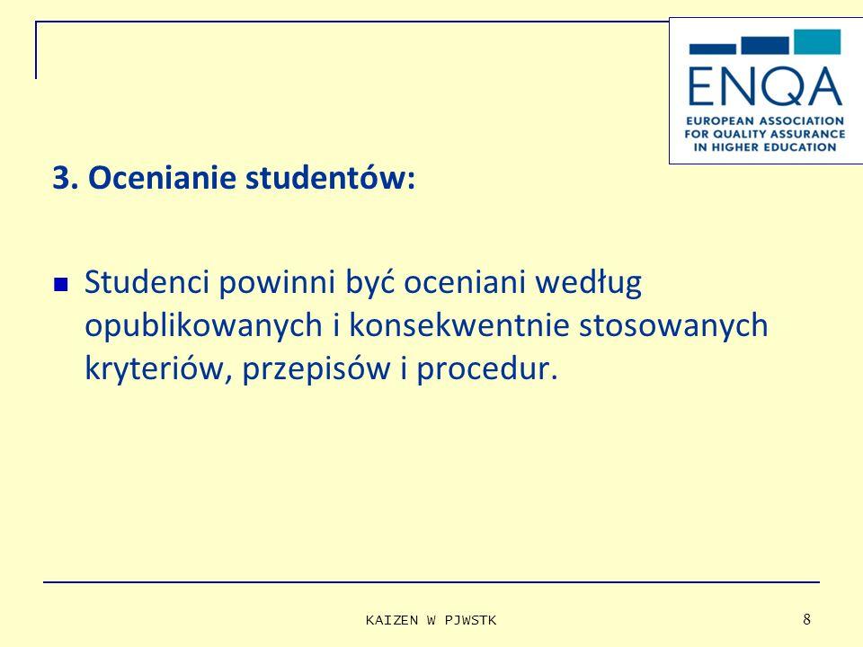 3. Ocenianie studentów: Studenci powinni być oceniani według opublikowanych i konsekwentnie stosowanych kryteriów, przepisów i procedur. KAIZEN W PJWS