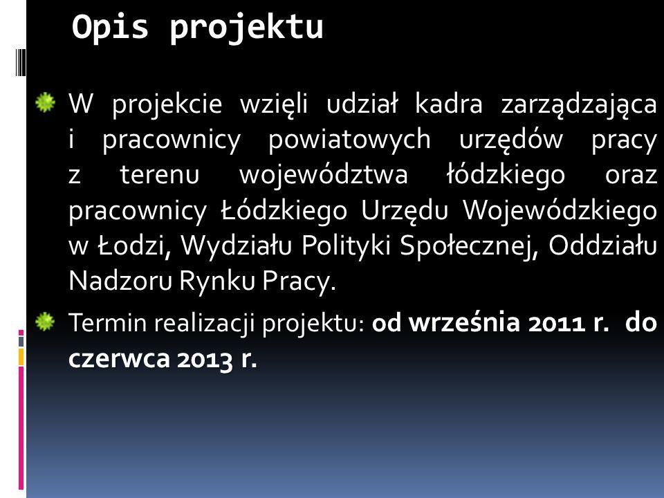 Opis projektu W projekcie wzięli udział kadra zarządzająca i pracownicy powiatowych urzędów pracy z terenu województwa łódzkiego oraz pracownicy Łódzkiego Urzędu Wojewódzkiego w Łodzi, Wydziału Polityki Społecznej, Oddziału Nadzoru Rynku Pracy.