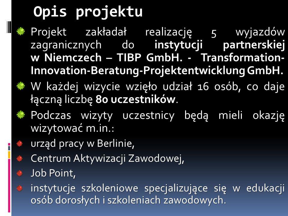 Opis projektu Projekt zakładał realizację 5 wyjazdów zagranicznych do instytucji partnerskiej w Niemczech – TIBP GmbH.