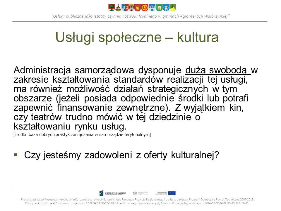 Usługi publiczne jako istotny czynnik rozwoju lokalnego w gminach Aglomeracji Wałbrzyskiej Usługi społeczne – kultura fizyczna, rekreacja Kultura fizyczna, rekreacja - administracja samorządowa dysponuje dużą swobodą w zakresie kształtowania standardów realizacji tych usług, ma możliwość działań strategicznych w tym obszarze (jeżeli posiada odpowiednie środki lub potrafi zapewnić finansowanie zewnętrzne).