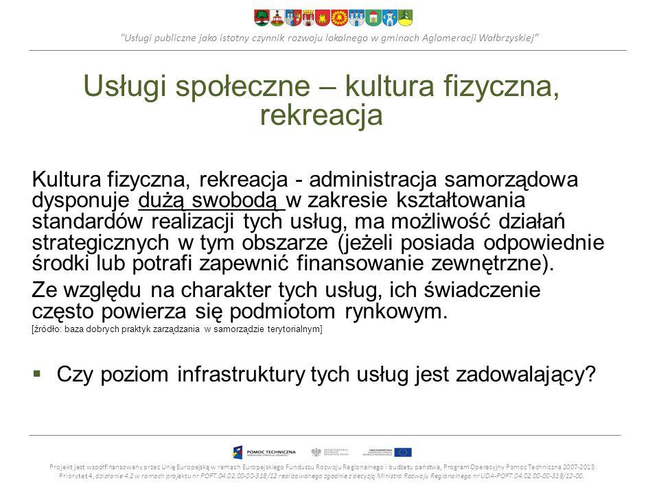 Usługi publiczne jako istotny czynnik rozwoju lokalnego w gminach Aglomeracji Wałbrzyskiej Usługi społeczne – pomoc i opieka społeczna Standardy świadczenia usługi określają przepisy prawa, będące odzwierciedleniem polityki społecznej państwa.