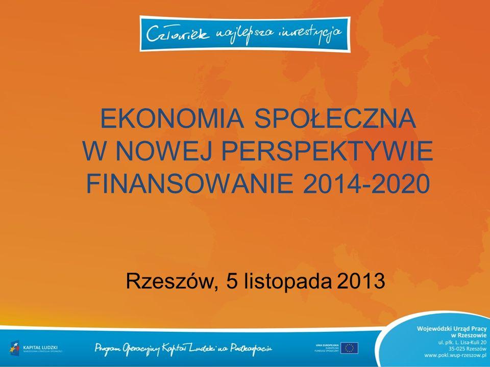 EKONOMIA SPOŁECZNA W NOWEJ PERSPEKTYWIE FINANSOWANIE 2014-2020 Rzeszów, 5 listopada 2013
