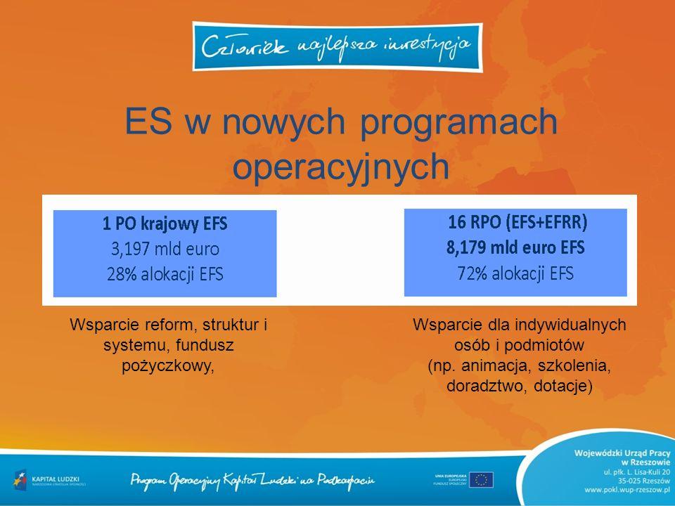 ES w nowych programach operacyjnych Wsparcie reform, struktur i systemu, fundusz pożyczkowy, Wsparcie dla indywidualnych osób i podmiotów (np. animacj