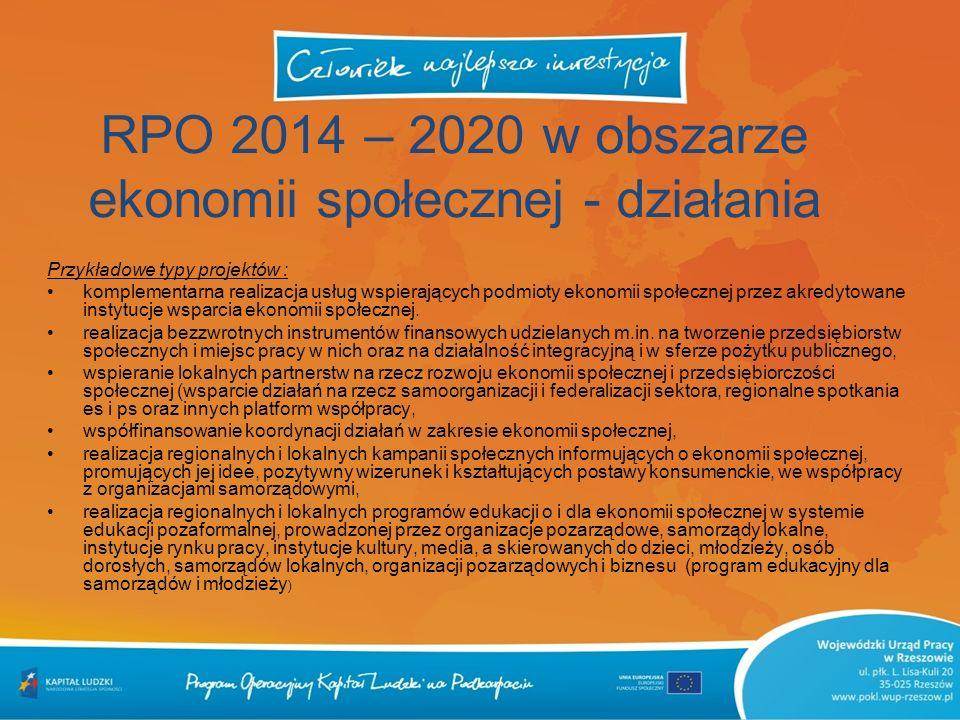 RPO 2014 – 2020 w obszarze ekonomii społecznej - działania Przykładowe typy projektów : komplementarna realizacja usług wspierających podmioty ekonomi