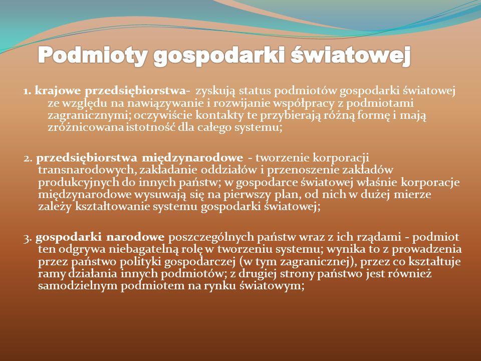 1. krajowe przedsiębiorstwa- zyskują status podmiotów gospodarki światowej ze względu na nawiązywanie i rozwijanie współpracy z podmiotami zagraniczny