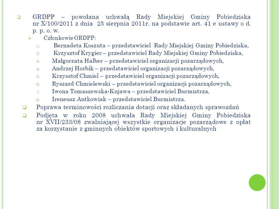 GRDPP – powołana uchwałą Rady Miejskiej Gminy Pobiedziska nr X/100/2011 z dnia 25 sierpnia 2011r. na podstawie art. 41 e ustawy o d. p. p. o. w. Człon