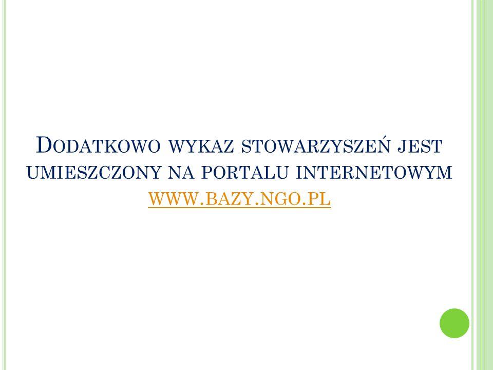 D ODATKOWO WYKAZ STOWARZYSZEŃ JEST UMIESZCZONY NA PORTALU INTERNETOWYM WWW. BAZY. NGO. PL WWW. BAZY. NGO. PL