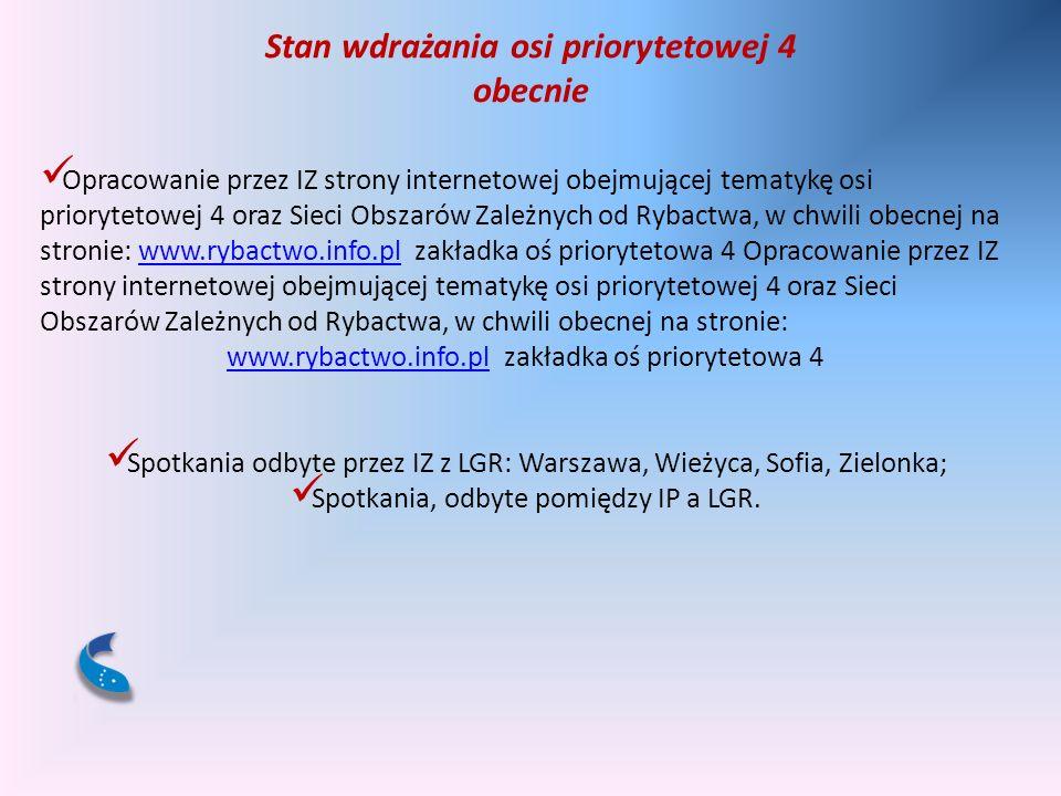 Stan wdrażania osi priorytetowej 4 obecnie Opracowanie przez IZ strony internetowej obejmującej tematykę osi priorytetowej 4 oraz Sieci Obszarów Zależ