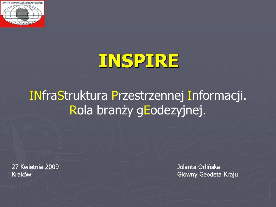 INSPIRE INfraStruktura Przestrzennej Informacji. Rola branży gEodezyjnej. 27 Kwietnia 2009Jolanta Orlińska KrakówGłówny Geodeta Kraju