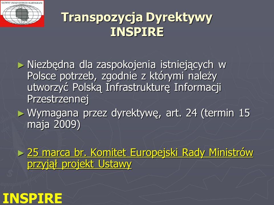 Transpozycja Dyrektywy INSPIRE Niezbędna dla zaspokojenia istniejących w Polsce potrzeb, zgodnie z którymi należy utworzyć Polską Infrastrukturę Informacji Przestrzennej Niezbędna dla zaspokojenia istniejących w Polsce potrzeb, zgodnie z którymi należy utworzyć Polską Infrastrukturę Informacji Przestrzennej Wymagana przez dyrektywę, art.