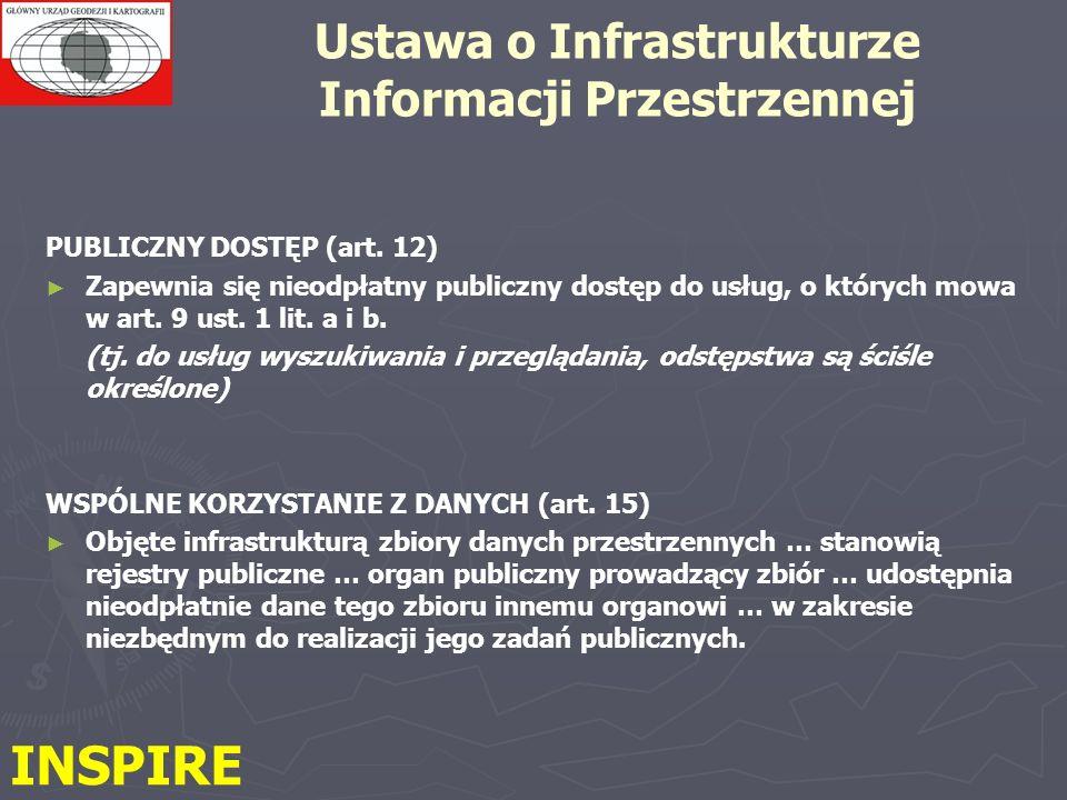 PUBLICZNY DOSTĘP (art. 12) Zapewnia się nieodpłatny publiczny dostęp do usług, o których mowa w art. 9 ust. 1 lit. a i b. (tj. do usług wyszukiwania i