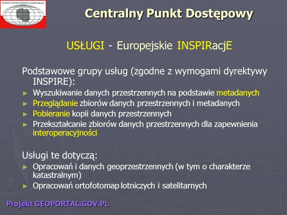 USŁUGI - Europejskie INSPIRacjE Podstawowe grupy usług (zgodne z wymogami dyrektywy INSPIRE): Wyszukiwanie danych przestrzennych na podstawie metadany