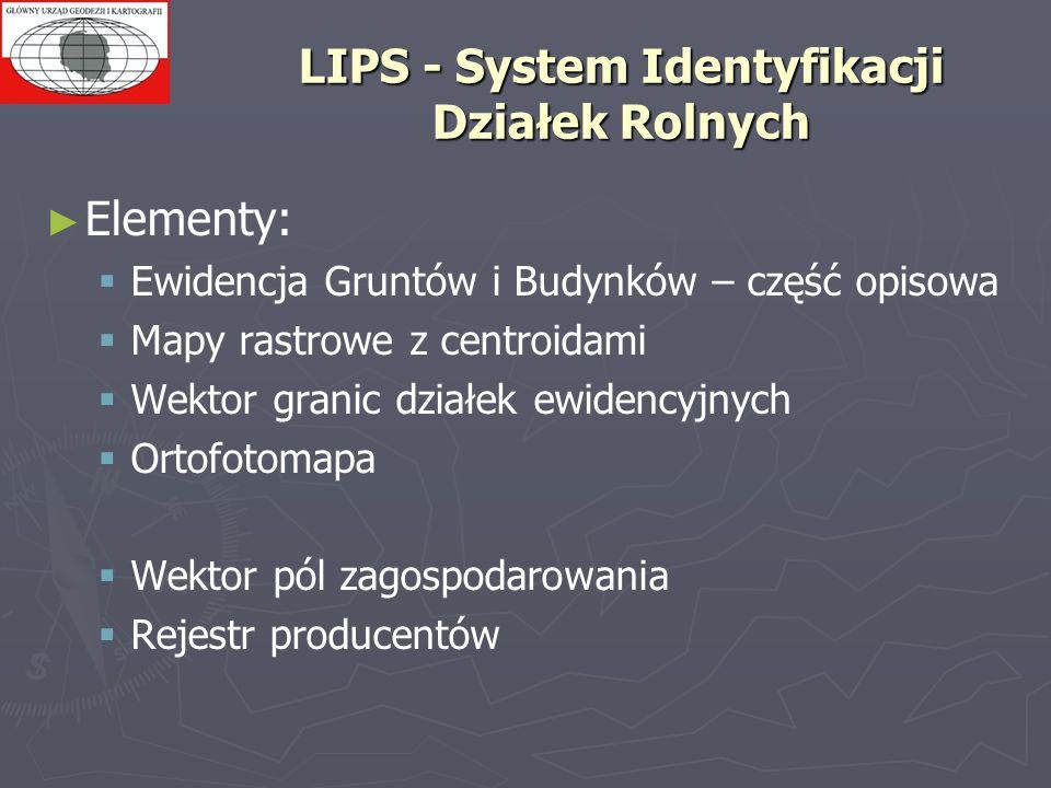 LIPS - System Identyfikacji Działek Rolnych Elementy: Ewidencja Gruntów i Budynków – część opisowa Mapy rastrowe z centroidami Wektor granic działek e