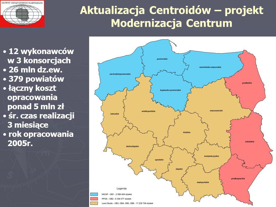 Aktualizacja Centroidów – projekt Modernizacja Centrum 12 wykonawców w 3 konsorcjach 26 mln dz.ew. 379 powiatów łączny koszt opracowania ponad 5 mln z