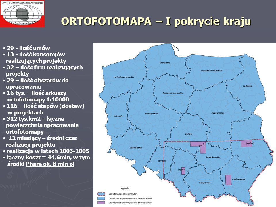 ORTOFOTOMAPA – I pokrycie kraju 29 - ilość umów 13 - ilość konsorcjów realizujących projekty 32 – ilość firm realizujących projekty 29 – ilość obszaró
