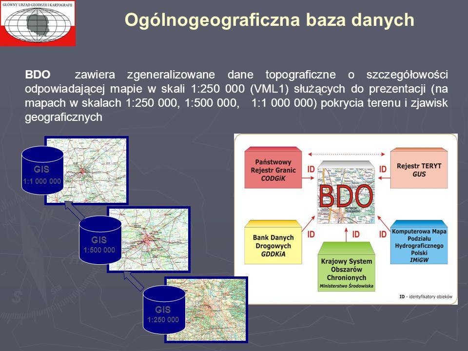 GIS 1:250 000 GIS 1:500 000 GIS 1:1 000 000 BDO zawiera zgeneralizowane dane topograficzne o szczegółowości odpowiadającej mapie w skali 1:250 000 (VML1) służących do prezentacji (na mapach w skalach 1:250 000, 1:500 000, 1:1 000 000) pokrycia terenu i zjawisk geograficznych Ogólnogeograficzna baza danych