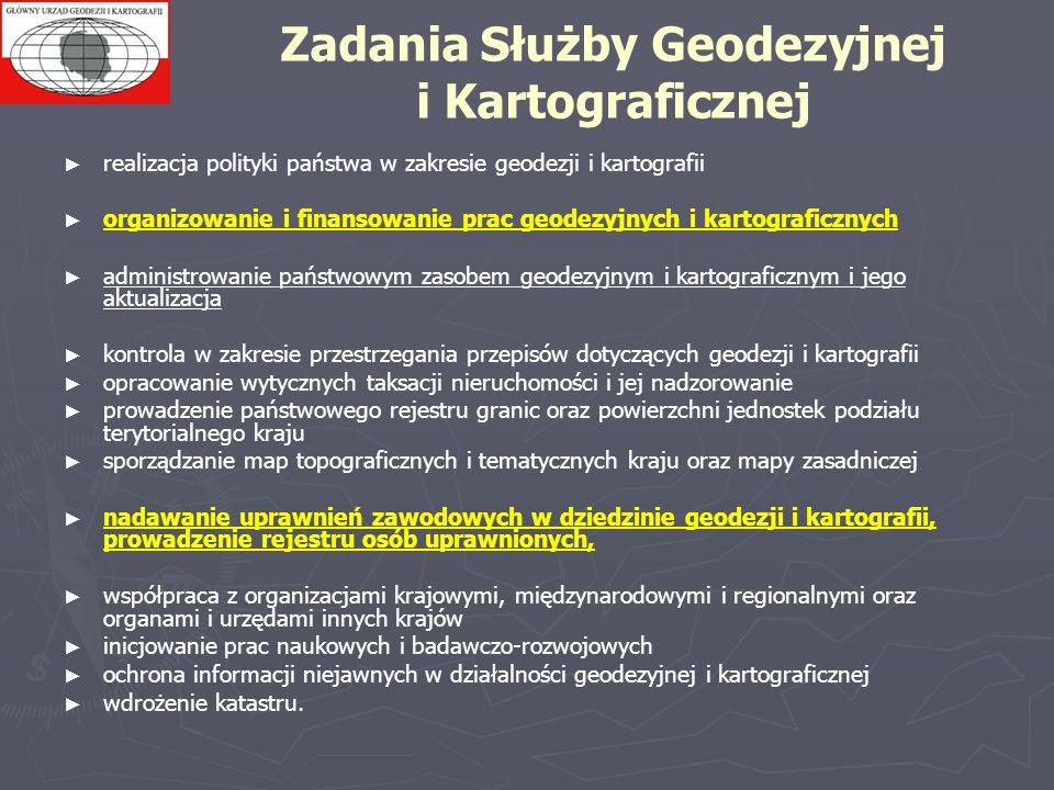 Zadania Służby Geodezyjnej i Kartograficznej realizacja polityki państwa w zakresie geodezji i kartografii organizowanie i finansowanie prac geodezyjn