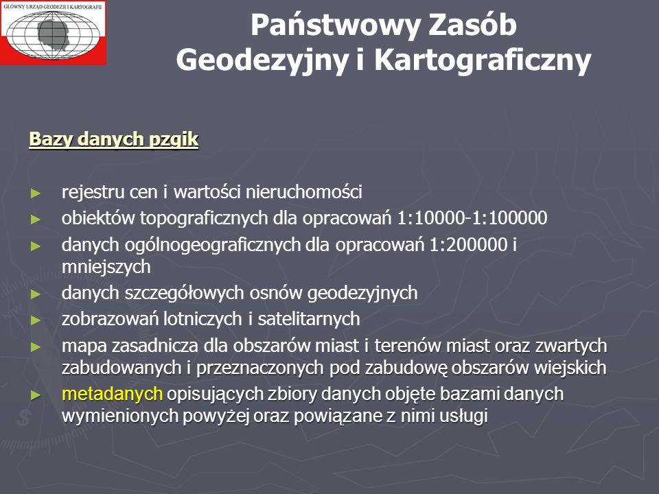 Państwowy Zasób Geodezyjny i Kartograficzny Bazy danych pzgik rejestru cen i wartości nieruchomości obiektów topograficznych dla opracowań 1:10000-1:1