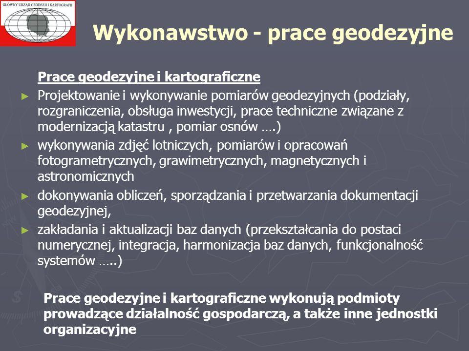 Wykonawstwo - prace geodezyjne Prace geodezyjne i kartograficzne Projektowanie i wykonywanie pomiarów geodezyjnych (podziały, rozgraniczenia, obsługa