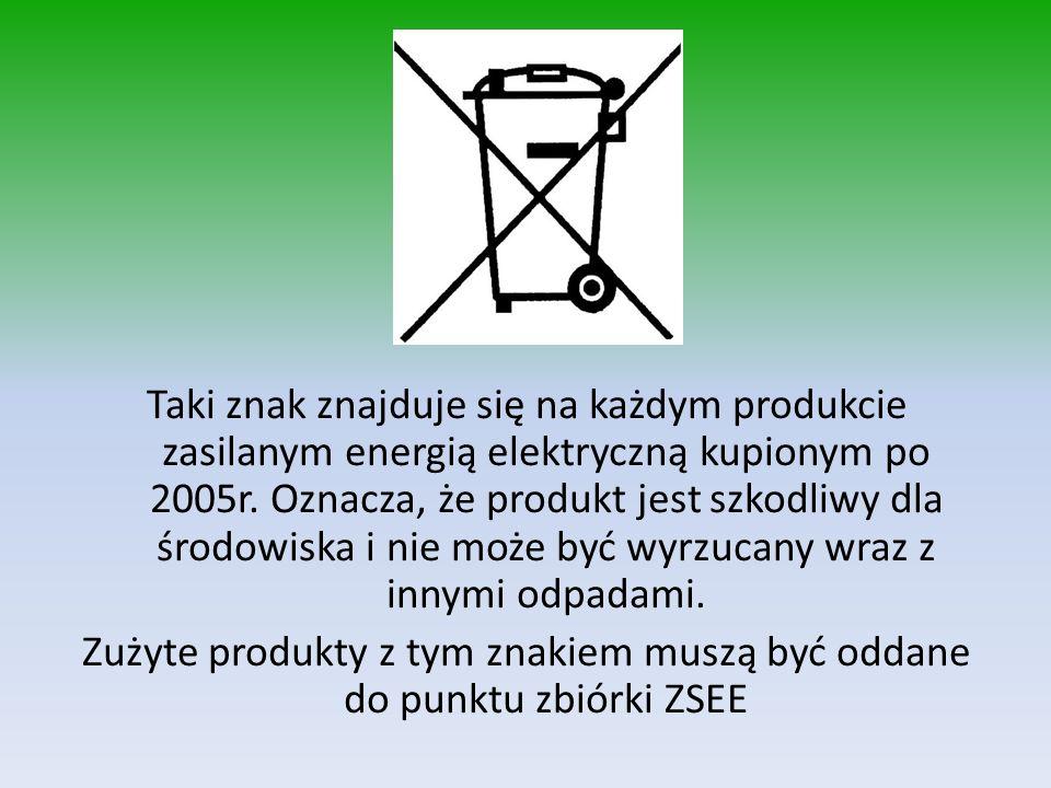 Taki znak znajduje się na każdym produkcie zasilanym energią elektryczną kupionym po 2005r. Oznacza, że produkt jest szkodliwy dla środowiska i nie mo