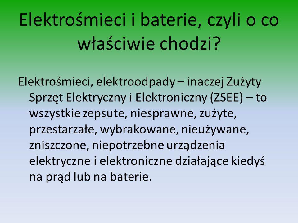 Elektrośmieci i baterie, czyli o co właściwie chodzi? Elektrośmieci, elektroodpady – inaczej Zużyty Sprzęt Elektryczny i Elektroniczny (ZSEE) – to wsz
