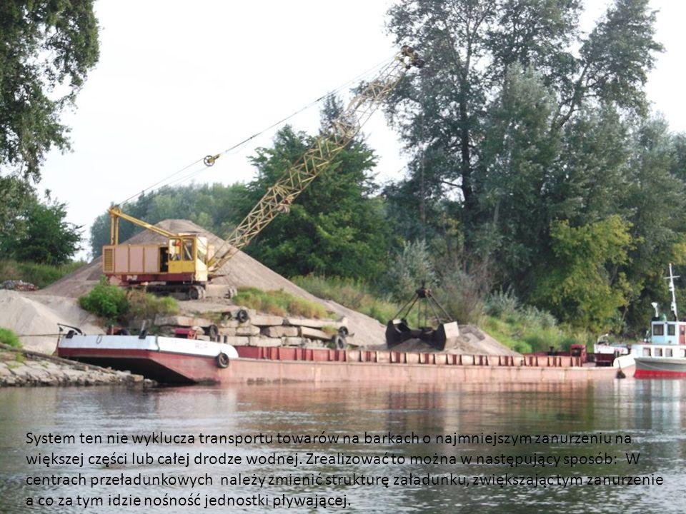 System ten nie wyklucza transportu towarów na barkach o najmniejszym zanurzeniu na większej części lub całej drodze wodnej. Zrealizować to można w nas