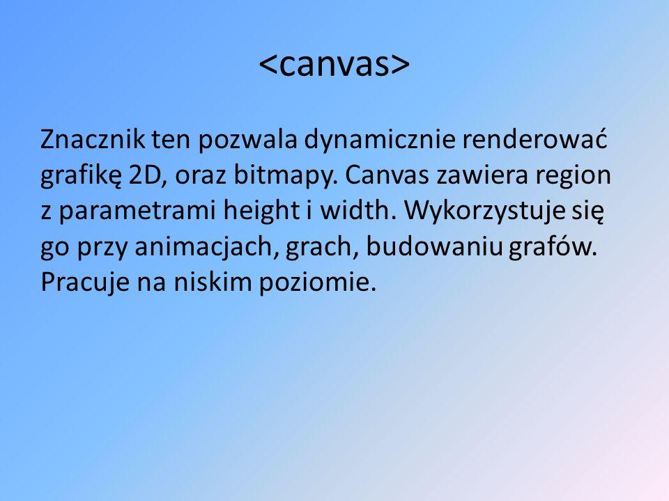 Znacznik ten pozwala dynamicznie renderować grafikę 2D, oraz bitmapy. Canvas zawiera region z parametrami height i width. Wykorzystuje się go przy ani