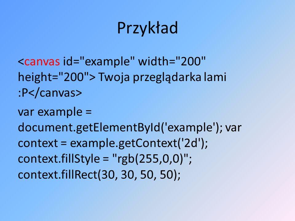 Przykład Twoja przeglądarka lami :P var example = document.getElementById('example'); var context = example.getContext('2d'); context.fillStyle =
