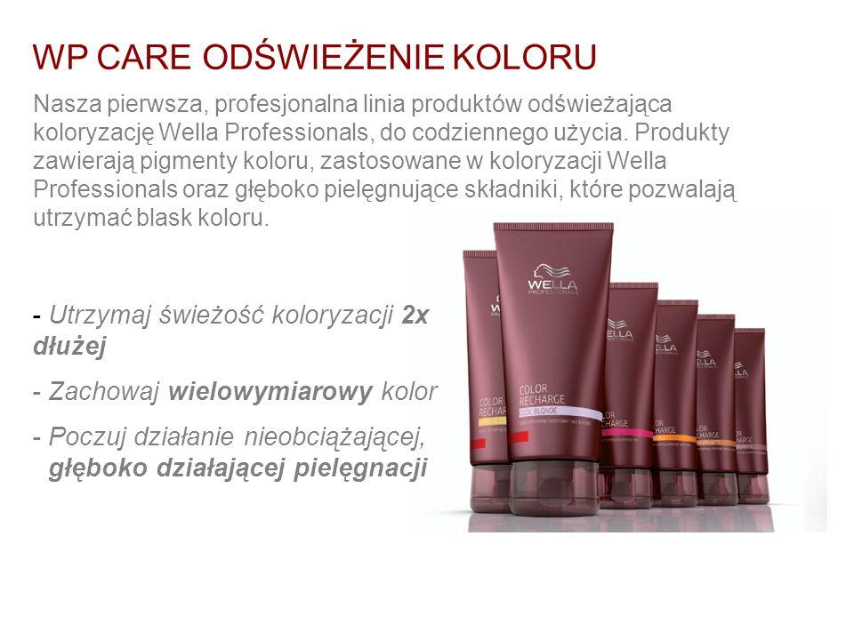 WP CARE ODŚWIEŻENIE KOLORU Nasza pierwsza, profesjonalna linia produktów odświeżająca koloryzację Wella Professionals, do codziennego użycia. Produkty
