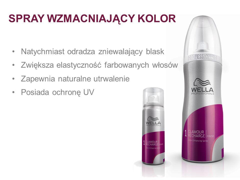 Natychmiast odradza zniewalający blask Zwiększa elastyczność farbowanych włosów Zapewnia naturalne utrwalenie Posiada ochronę UV SPRAY WZMACNIAJĄCY KO
