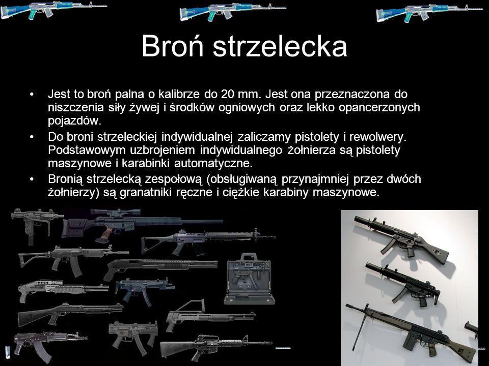Broń palna Bronią palną nazywamy środki walki, które wykorzystują do miotania pocisku proces szybkiego spalania ładunków prochowych (prochu). Jest pow