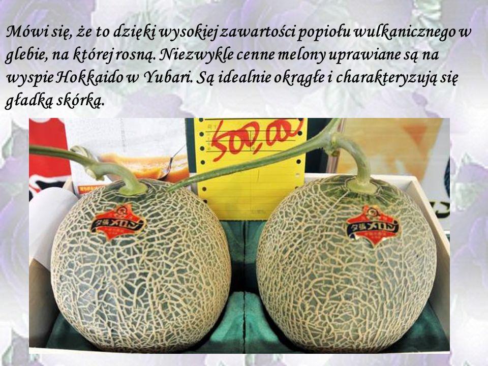 Melon Yubari Kolejny japoński owoc, który osiąga zawrotną cenę to melon odmiany Yubari. Może kosztować od 60 do 150 dol, czasami jego cena dochodzi na